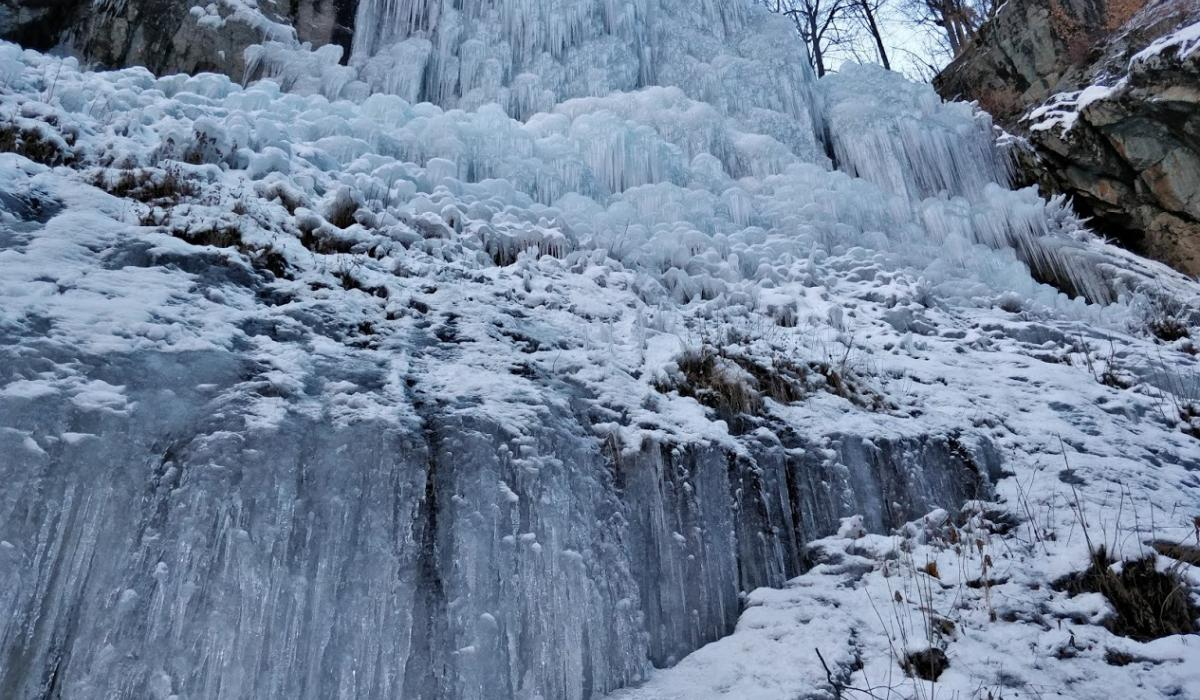 Pelvoux artificial ice waterfall